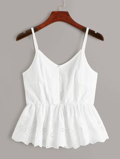 Eyelet Embroidery Ruffle Hem Cami Top - Eyelet Embroidery Ruffle Hem Cami Top Source by jacquelynrangel - Cute Tank Tops, Cami Tops, Cute Casual Outfits, Summer Outfits, Indian Blouse Designs, Mode Top, Fashion Dresses, Models, Clothes For Women