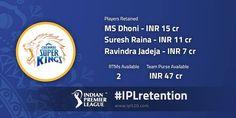 Chennai Super Kings retained MS Dhoni Suresh Raina & Ravindra Jadeja for IPL 2018 Source: IPL - http://ift.tt/1ZZ3e4d