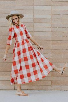 Maddie Buffalo Plaid Dress - - Source by miftahjannatixx Elegant Dresses Classy, Casual Work Dresses, Elegant Dresses For Women, Classy Dress, Modest Dresses, Simple Dresses, Dresses For Work, Sexy Dresses, Summer Dresses