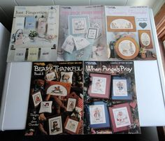 Lot of 5 Cross Stitch Leaflets: Ducks, Towels, Bears, Angels and Bunnies #LeisureArts