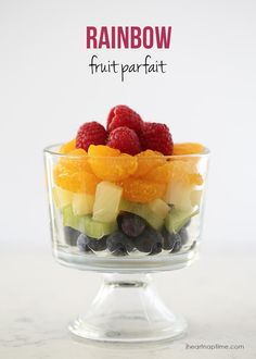 Rainbow fruit parfait. A healthy way to celebrate St. Patrick's day!