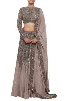 grey dress Indian - Buy Sequin and swarovski stone lehenga set. by Nakul Sen at Aza Fashions Indian Bridal Outfits, Indian Bridal Fashion, Indian Designer Outfits, Indian Gowns Dresses, Pakistani Dresses, Stylish Dress Designs, Lehnga Dress, Dress Indian Style, Lehenga Designs