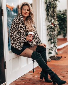 Black on black on black with a pop of leopard! Never fails!  #boots #otkboots #leopardcoat #leopardjacket #tights #Winterfashion #holidaylook #holidaystyle