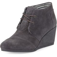 TOMS Suede Desert Wedge Bootie ($93) ❤ liked on Polyvore featuring shoes, boots, ankle booties, dark gray, lace up wedge booties, wedge boots, suede lace up booties, ankle boots and lace up boots