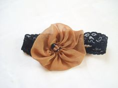 1/2 Price - PIF - A Touch Of Elegance -  Black Lace Headband with a Gold Sheer Silk Yo Yo Large Flower - Parties, New Years, Valentine, Ect....