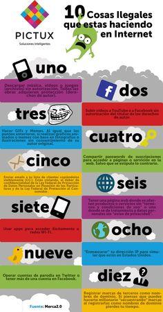 10 cosas ilegales que estas haciendo en internet #infografía #socialmedia #diseño #marketing #solucionesinteligentes #creatividadqueconquista