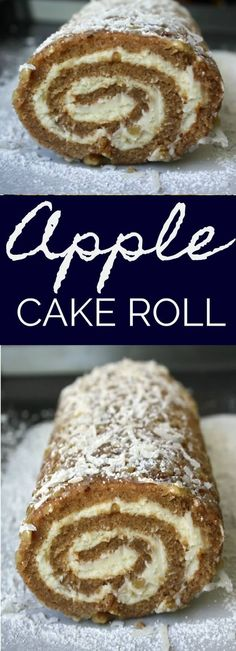 Apple Cake Roll. Apple Cake Roll is a moist spiced apple cake rolled in coconut, powdered sugar and pecans and filled with a sweetened cream cheese mixture. #applecake
