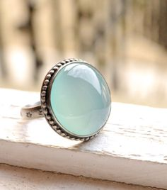 Aqua Chalcedony Ring Handcrafted in Oxidized Silver, Cocktail Ring, Metalwork, Bezel Work, Light Blue Cabochon, Made to Order