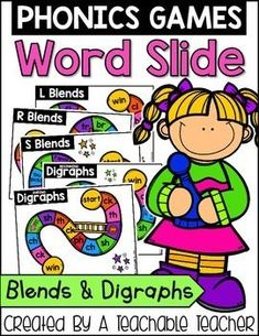 Phonics Game!! Blends and Digraphs Word Slide is your key to FUN phonics practice! Just add a pencil and a paperclip!