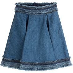 Alexander McQueen Pleated Denim Skirt (584 AUD) ❤ liked on Polyvore featuring skirts, blue, flare skirts, blue skirt, blue high waisted skirt, knee length denim skirt and flared skirt