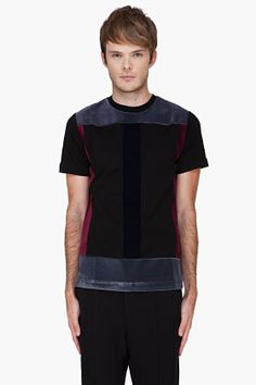 Christopher Kane Black Flock Panel T-shirt for Men | SSENSE