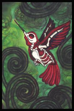 Hummingbird by Shayne of the Dead Bohner Day of the Dead Skeleton Bird Art Print #PopArt