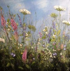 'Bees and petals' by Marie Mills 100x100cm oil on linen £1495 http://www.lyndhurstgallery.co.uk/gallery_detail.asp?id=1740#