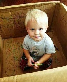 Keep a todler busy by letting them color the inside of a box.