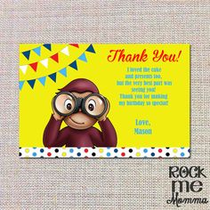 Curious George Birthday Thank You Note Card