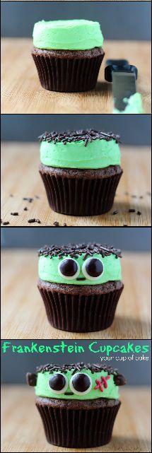Easy Frankenstein Cupcakes for Halloween