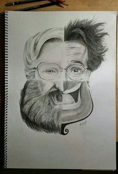 Drawing Faces Design Awesome tribute to Robin Williams! Would make a cool art project/practice with drawing faces - Cool Drawings, Pencil Drawings, Drawing Faces, Amazing Drawings, Drawn Art, Illustration, Inspiration Art, Wow Art, Art Plastique
