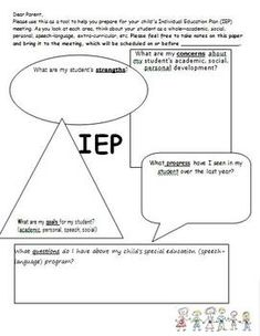 Freebie Parent IEP worksheet (before meeting) - PamelaSLP - TeachersPayTeachers.com Repinned by SOS Inc. Resources http://pinterest.com/sostherapy.