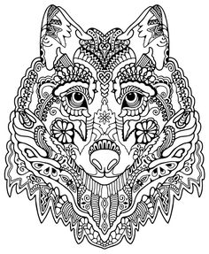 Wolf Abstract Doodle Zentangle Coloring pages colouring adult detailed advanced…