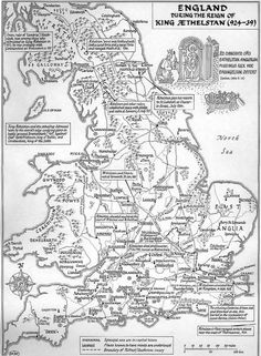 A large-scale map of Britain (up to Edinburgh) in the reign of King Æthelstan (924-39), showing settlements, bishoprics, and known mints, with lots of historical notes in the margins