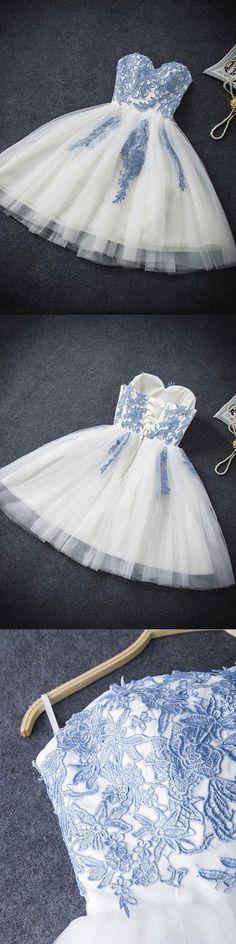 Strapless Sweetheart Neck Homecoming Dresses,Ivory Hoco Dresses,Short Prom Dresses,46