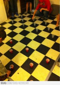 Beer Chess!! I knew I should've gone with the black and white checked floor!!