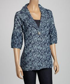 Another great find on #zulily! Blue Floral Cardigan by Live A Little #zulilyfinds
