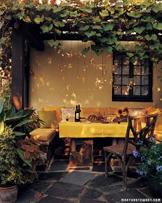 From cottage and vine blog.  Outdoor patio idea.