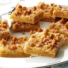 Butterscotch-Toffee Cheesecake Bars Recipe -I took a cheesecake bar recipe and added a new flavor combo to transform it! The butterscotch and toffee really taste divine here. —Pamela Shank, Parkersburg, West Virginia