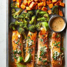 Sheet-Pan Salmon with Sweet Potatoes & Broccoli - EatingWell