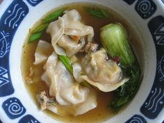 Homemade Won Ton soup.. I use Chicken Broth, Won ton Wrappers ground pork and spices for the Won ton.. Snow peas whole, Bok Choy, Ginger, Thin sliced carrots and chives all fresh.. Really good and warms you on a cold day.. Kids love it too!