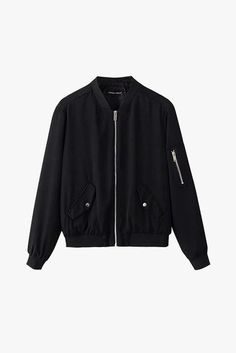 Black Zipper Bomber Jacket