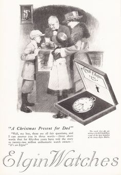 1919 ELGIN POCKET WATCH Victorian Advertisement - Christmas Present for Dad - by phorgotten