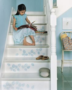 Stenciled Stairs, Painted Stairs, Wooden Stairs, Funky Junk Interiors, Blue Interiors, Refinish Stairs, Wallpaper Stencil, Beautiful Stairs, Basement Stairs