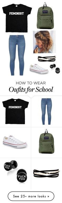 """""""School"""" by vanezzza on Polyvore featuring Dorothy Perkins, Converse, Kenneth Jay Lane and JanSport"""