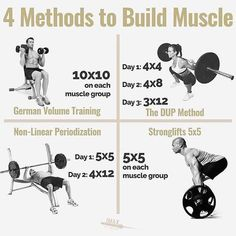 4 METHODS TO BUILD MUSCLE by @jmaxfitness - There's a 5th method to build muscle (not listed here) and I used it to gain 27lbs of muscle in only 4 months. Visit the link in my bio to get the exact workout program I used (for free). - Luckily if you want to build muscle there are many ways to skin the cat. - With that being said you will make the most progress is you stick to the program. Stick to it for a least 8 weeks. The goal with every workout is to beat or tie last workouts performance…