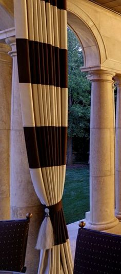 outdoor curtains~EASY, INEXPENSIVE DRESS-UP..think drop cloths with added stripes..