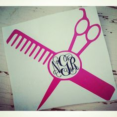 Scissors And Bow Hair Stylist Monogram Decal Monograms