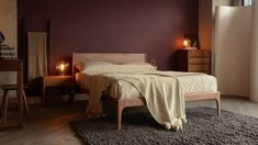 Walnut-Camden-and-walnut-Cube-furniture. Exclusive to Natural Bed Company.