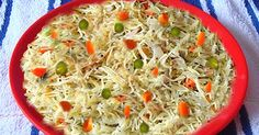 Sevai U pma (V ermicelli ) Ingredients: 2 cups sevai(vermicelli) cup chopped carrots cup green peas . Vermicelli Recipes, Green Peas, Grains, Cups, Food, Mugs, Essen, Yemek