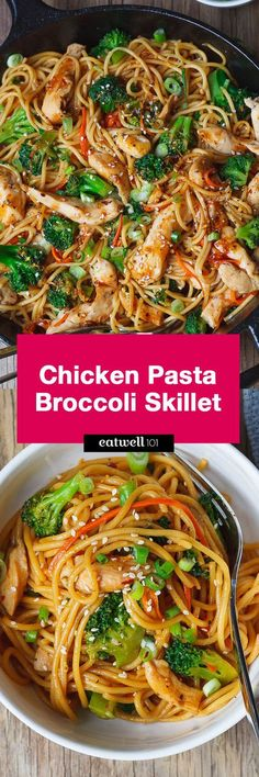 Chicken Pasta and Broccoli Skillet – Flavor overload! Make your own take-out at home with this super easy chicken recipe.