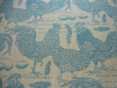 STOF POULTRY BLUE CHICKENS PRINT HENS LINEN CURTAIN SOFT FURNISHING FABRIC