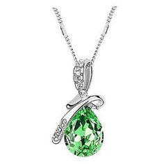 Green Swarovski Elements Crystal Pendant and Necklace. Only at www.pandadeals.co.uk