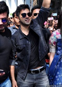Varun Dhawan black sunglasses denim jacket cool look Mithibai college Varun Dhawan Photos, Alia And Varun, Indian Star, Sushant Singh, Alia Bhatt, Bollywood Stars, Celebrity Crush, Good Movies, Actors & Actresses