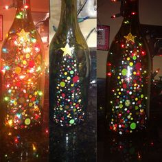 Wine bottle DIY with paints bottle crafts christmas Cheap and Easy Christmas Decorating Ideas on a Budget – Lights in a Bottle Wine Bottle Glasses, Wine Bottle Corks, Glass Bottle Crafts, Wine Bottle Lamps, Painted Wine Bottles, Lighted Wine Bottles, Bottle Lights, Glass Bottles, Wine Glass