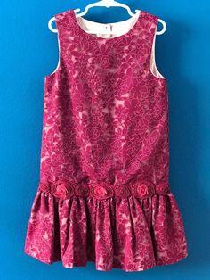 PIPPA & JULIE Magenta Purple Lace Floral Drop Waist Dress Size 7 #PippaJulie #Dressy