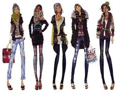 fashion illustration for Abercrombie & Fitch, Adobe Photoshop