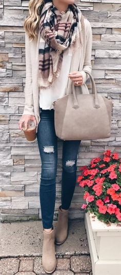 what to wear with a scarf : cardigan + bag + top + rips + boots