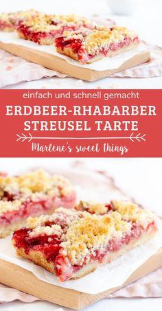 Ein einfaches Erdbeer Rhabarber kuchen rezept: Erdbeer Rhabarber Streusel Tarte mit nur einem Teig. So lecker und einfach. Das Rezept passt perfekt für die Kaffee im Frühling. Das Dessert schmeckt der ganzen Familie Quiche, Cupcakes, Sandwiches, Vegan, Sweet, Desserts, Recipes, Food, Sprinkles