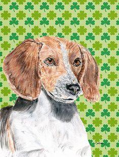 English Foxhound St Patrick's Irish Flag Canvas House Size